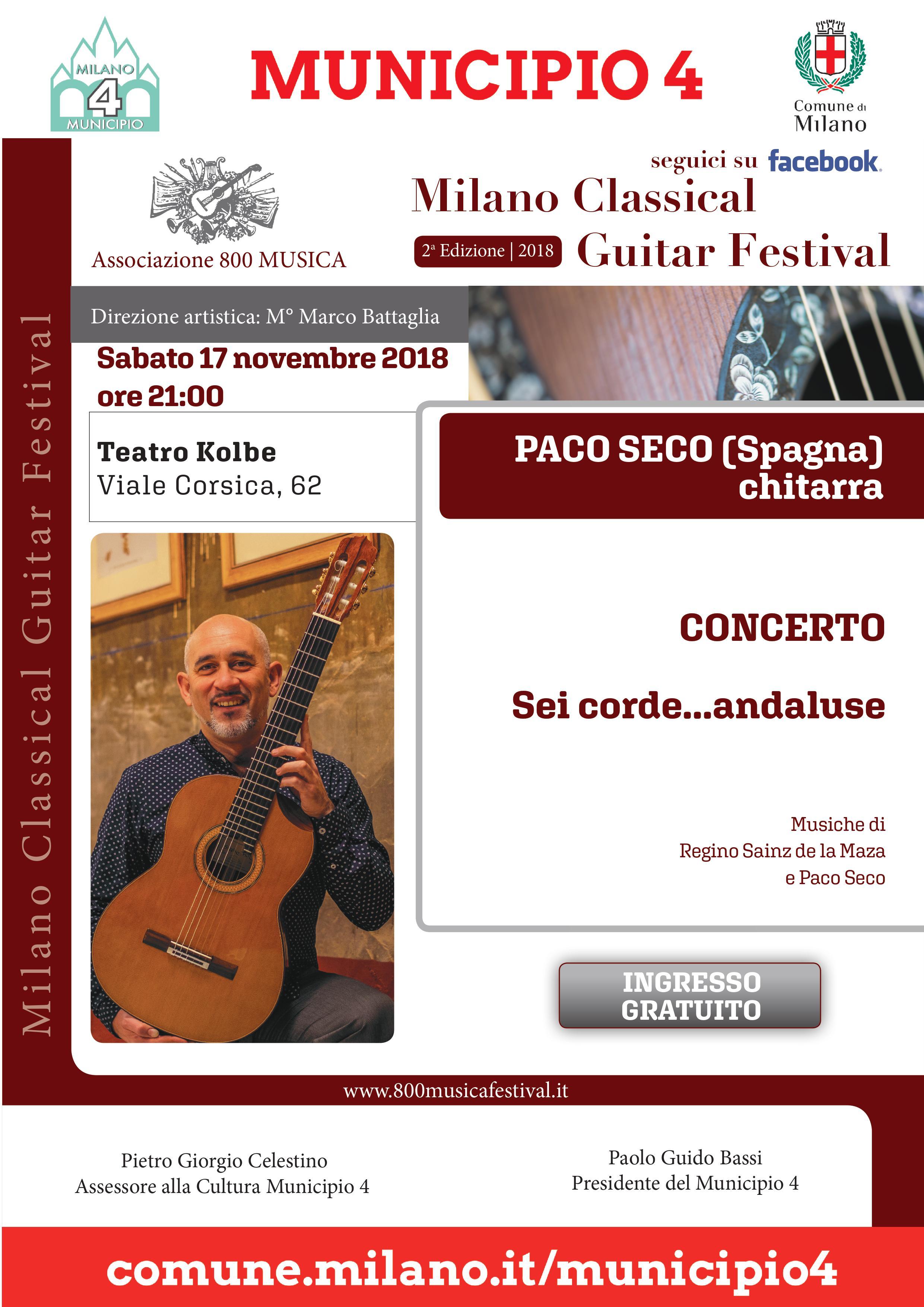 LOCANDINA CONCERTO PACO SECO 17-11-2018