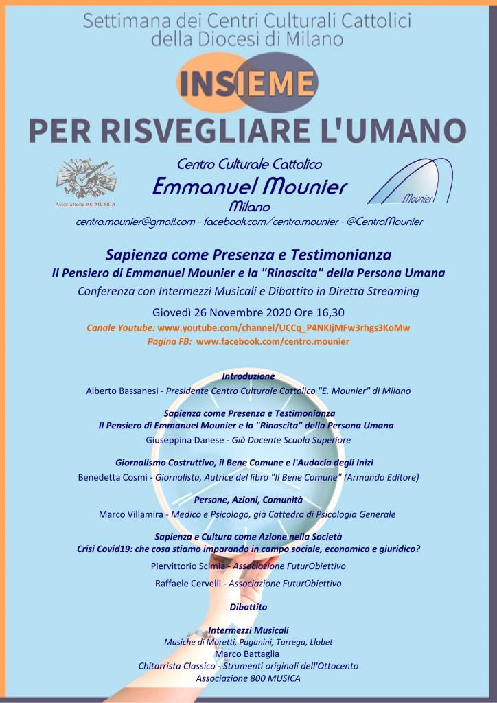Mounier - Locandina - Sapienza come Presenza e Testimonianza - 26-11-2020 - 16,30